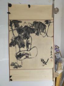 燕山樵 梁崎 花鸟画 原装旧裱 两头裁切 尺寸53x46