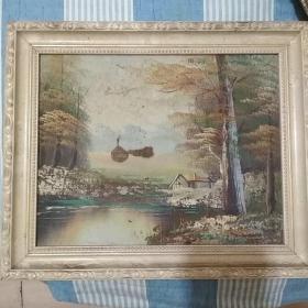 老山水油画(装框)
