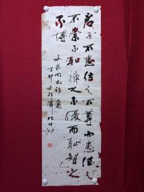 书画8646著名作家【蒋邦泽】书法,张衡《应问》 句,三尺条幅