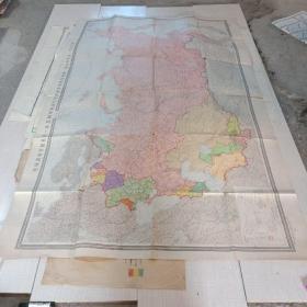 1949年 超大俄文版 苏联政区图 实物图 品如图 尺寸204x132  货号68-3