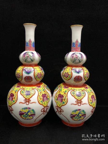 琺瑯彩花葫蘆瓶,年齡.大了留著沒用了..超低價格,非常便宜,賤賣
