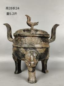 旧藏,三足象鼻铜熏香炉,包浆自然浑厚。