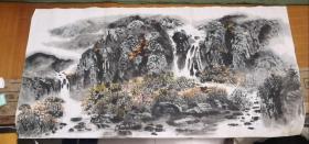 山水画一幅(无款)(4尺整纸,135厘米,68厘米)(3)