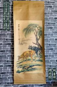 中国近现代美术史开派巨匠,动物画一代宗师 刘奎龄 手绘 祥牛风景 立轴画,绘画精美 祥牛绘画气派十足 栩栩如生