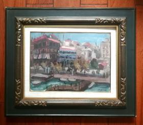 日本油画 昭和时期著名画家山尾薫明 小城风景图 日本原框及外盒 收藏装饰礼品俱佳。
