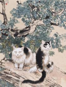 1339    徐悲鴻  桐蔭雙貓    紙本印刷圖片    畫頁