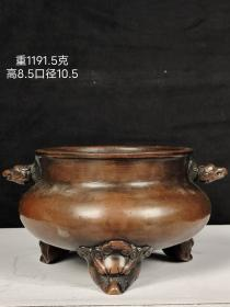 旧藏,三足兽头铜香炉,做工精致,包浆自然浑厚。