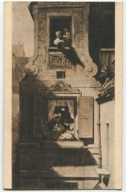 德国 1928年 实寄明信片 建筑 窗户绳子传递物品 贴贝多芬CARD18/1011