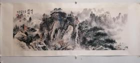 周怀民、陶一清、溥松窗 合作山水镜片,包老包手绘。