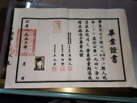 教育史料毕业证,1950年国立女子师范学院毕业证书(湖北潜江万德芳),