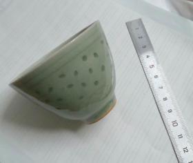 青瓷豆青釉玲珑茶盅酒盅