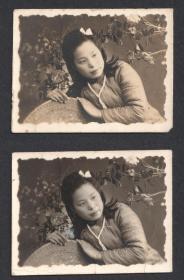 民国老照片,老照相馆布景照,同一人两张合售