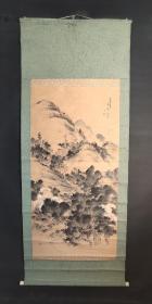 D1459:回流手绘大幅山水图立轴(日本回流字画.日本回流书画.回流老画.回流老字画精品.真品字画)