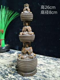 下乡收到老黄杨木佛柱。小叶黄杨,手工雕刻,佛面千数!高26cm,直径8cm。