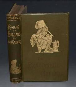 1889年博物馆级稀有古董书 幽默主题 古英语民谣 韵律诗歌故事集 吟游诗人