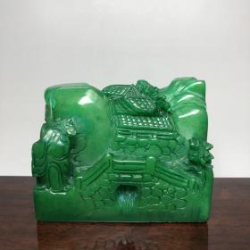 珍藏品 绿田黄石雕刻《访友图》印章,石质细腻光滑,雕工精美,收藏观赏首选之佳品,保存完好无损,品相如图。