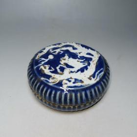 明,计蓝釉龙纹粉盒,六