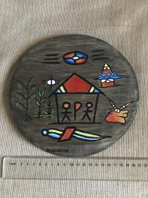 云南麗江  純手工木刻   木掛   掛盤   擺件  納西族古東巴文  全家幸福  祝福掛盤