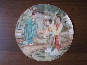 早期上海市奉贤制镜厂出品奉城牌团镜商标画:西厢记人物