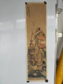 约民国时期  老人物画小长条 后托 作者不识 尺寸87x25