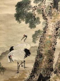 日本回流,1928年老画,松下双鹤图 绢本绫裱,木质轴头,画心114*38。画面有老化