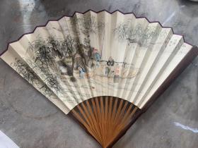 民国常州画家汪云龙成扇,红木扇骨,保真!