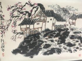 (3周年店庆优惠,买3幅加送1幅。)北京 李行简山水,省诗词学会会长收藏作品流出,画面有收藏章,介意慎购。