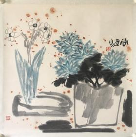 (3周年店庆优惠,买3幅加送1幅。)广东 尚涛花卉斗方,省诗词学会会长收藏作品流出,画面有收藏章,介意慎购。