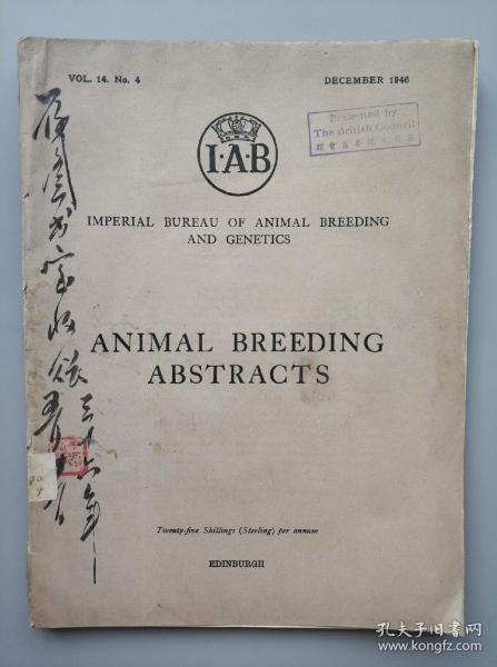 1946年出版 《ANIMAL BREEDING ABSTRACTS》英文原版 16开 一册 (封面有英国文化王氏毛笔签赠钤印,另有英国文化委员会中英文钤赠章)