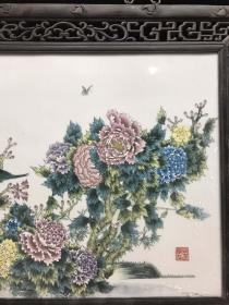 民国 花梨木镶嵌瓷板画 富贵满堂中堂挂屏