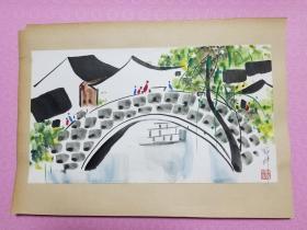 """佳画!!!吴冠中82年画作,未见""""枯藤老树昏鸦"""",确有""""小桥流水人家""""。画面抽象又生动,佳画难得。画心尺寸:36X20厘米。品质非常好。"""
