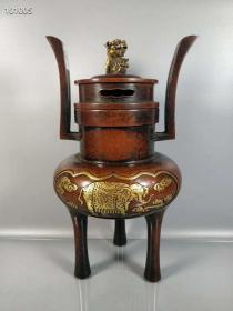 紫铜雕鎏金熏香炉,重3515克