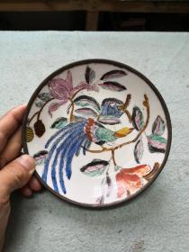 铜包瓷盘一个