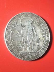 《英国女皇站洋银元》外国银元站人杖洋壹元 真品老银元银币