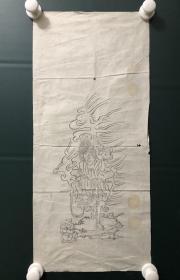 日本回流字画 软片   4821  木板印神像