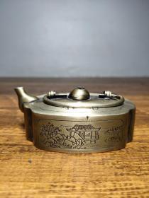 旧藏白铜雕刻亭台楼阁【上善若水】书房水滴摆件
