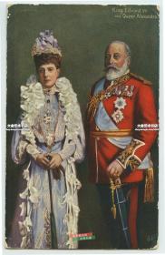 1906年英国国王爱德华七世和妻子亚历山大王后肖像明信片,贴邮票于1906年实寄过。
