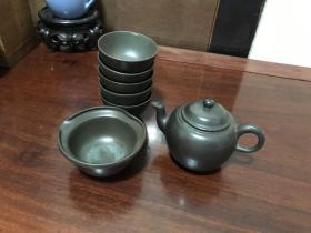 H-0514海外回流 日本茶道具 时代物 有铭 青备前 7头茶具一套  一壶五杯一汤冷 (不讲价、易碎茶器、购买前请咨询售出不退换)