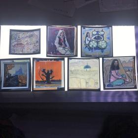 a上海人民美术出版社旧藏老底片 风景、人物油画底片一组8枚