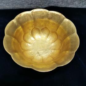 纯铜錾刻花鸟纹饰葵花碗