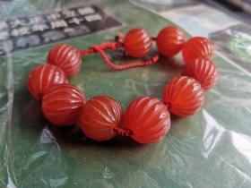 传世红灯笼南红玛瑙手串,2厘米,饱满圆润,上品。