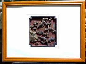 桃源文化,清代木雕花板,三羊开泰,带框尺寸60/44,露板尺寸22/21。工艺精湛,代表了明清木雕工艺的高度技艺。