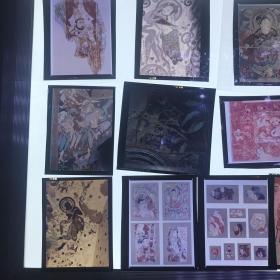 a上海人民美术出版社旧藏老底片 飞天、壁画底片一组14枚