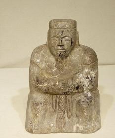 清代青石雕土地神像