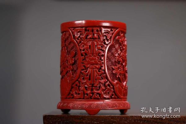 收藏剔紅漆器喜上眉梢筆筒高10厘米