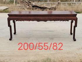 花梨木大画桌,两节腿四面雕工,全品牢固,尺寸如图