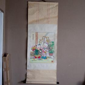 中国杨柳青木板年画立轴  《发财还家》