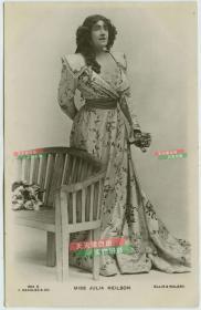 清末民初舞台剧女明星茱莉亚尼尔森银盐照片一张,照片版明信片