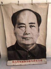 巨幅大画毛主席像文革织锦绣棉织画红色收藏