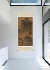 宋_范宽_溪山行旅图。纸本大小103.3*206.21厘米。微喷印制。装裱成品尺寸280*110公分左右,很大。